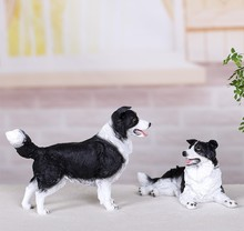 Resin Border Collie Dog Figurines Modern Decoration Lucky Resin Craft Polyresin Home and Garden Decoration(China)