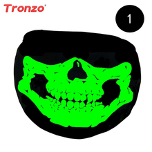 Tronzo Black Halloween Party Mask Ghost Skull Half Face Scary Horror Mask Luminous Color Changing Halloween Party Supplier(China)