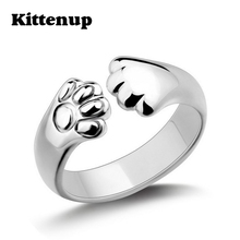 Kittenup Cute Dog Cat Paw Ring for women New Fashion Silver Plated Claw Jewelry(China)