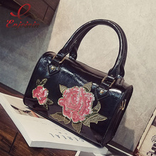 Luxury fashion rose sequins flowers pu leather ladies handbags shoulder bags Boston bags women's crossbody messenger bag purse