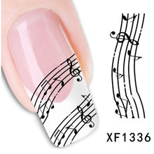 1sheets New Water Transfer Stickers Music Notes Stick DIY Designs Nail Art Decals Wraps Polish Tips French Tips Tools LAXF1336(China)