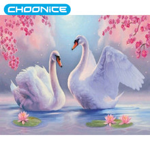 Round Diamond Painting White Swans Landscape DIY 3D Diamond Embroidery Spring Flowers Embroidery Ribbons Sets Sale Mosaic