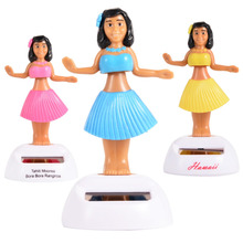 LeadingStar Solar Hula Dancing Girl Doll Decorative Furnishing Articles Car Decoration New A New Toy Pink Yellow Blue Green