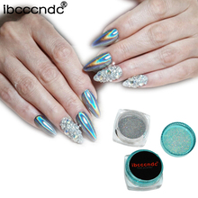 1g/Box Rainbow Mirror Nail Glitter Powder Holographic Nails Dust Laser Holo Nail Art Decorations Chrome Pigment for Gel Polish(China)