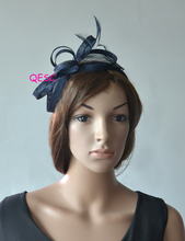 NEW Navy blue Sinamay Feather Fascinator Hat for Ascot Races,Melbourne Cup,Kentucky Derby wedding party.FREE SHIPPING