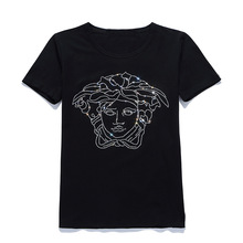 Sequin Bling Bling Image Print Basic Shirt White Black Man Women Cotton Soft Tee Shirt Oversize Larger