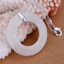 "wholesale silver plated pendant,925 fashion Silver jewelry mesh ""O"" pendants necklace for women/men +chain SP054"