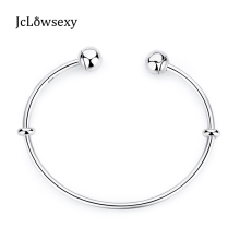 2017 Summer Authentic 925 Sterling Silver Original Moments Open Bangle With Pan Caps Women Basic Bracelets DIY Jewelry 16-21cm