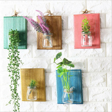 Wood Flower Pot Wall Hanger Flower pot Wooden Wall Rack Storage plant Holder Rack Home Glass Bottle Vase Hanging Home Decoration(China)