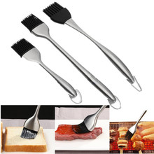 1pc 20/30CM Handle BBQ Basting Brush Stainless stell+Silicone Baking Barbeque Bristles Oil Brushes Make Grilling Easy drop ship