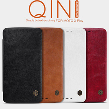 Original Nillkin Qin Series Cell Phone Leather Cases for Moto X Play Luxury Fashion With Card Slot Flip Case Funda