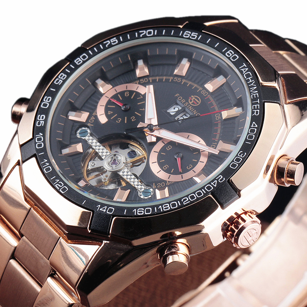 FORSINING Mechanical Watches Stainless Steel Men Automatic Tourbillon Skeleton Automatic Watch Men Rose Gold Wristwatch Relogio<br>