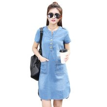 Women Solid O-neck Short Sleeve Plus Size A Line Denim Dress Vestidos Party Dresses Slim Casual Office Denim Jeans Dress Robe(China)