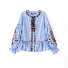 2017 Spring Embroidery Striped Jacket Women Fashion Puff Sleeve O-neck Draw String Casaco Cascading Ruffles Jaqueta Feminina(China)