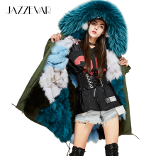 JAZZEVAR New Fashion Woman Luxurious Real Fox fur lining Military Parka MIDI Large Raccoon fur Hooded Coat Outwear Winter Jacket(China)