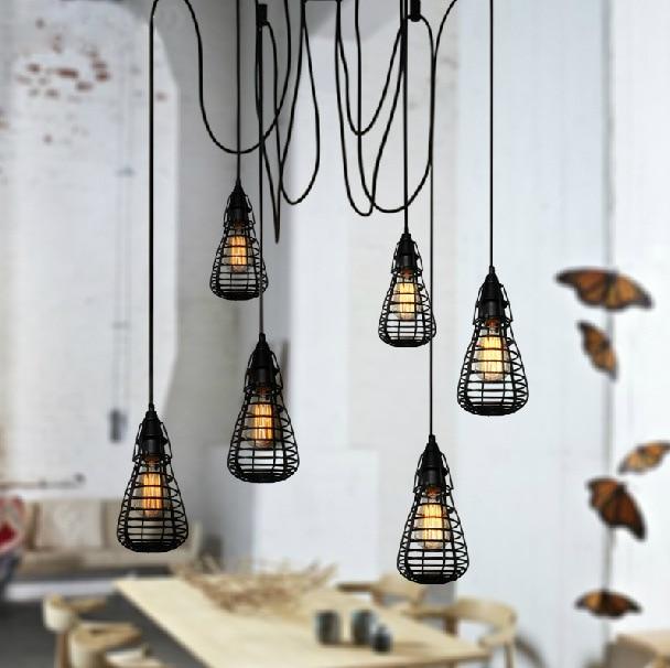 110~220V Retro Edison Bulb Light Chandelier Vintage Loft Antique Adjustable E27 Art Spider Ceiling Lamp Fixture Light WPL076<br>