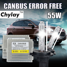 55W Canbus HID xenon kit H1 H3 H4 H7 H11 9005 9006 D2S car headlight slim ballast xenon bulb 4300K 6000K 8000K xenon H7(China)