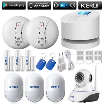 Diy ios android app control remoto wifi gsm pstn línea telefónica sistema de alarma casa sucerity kerui w2 wifi kit de red