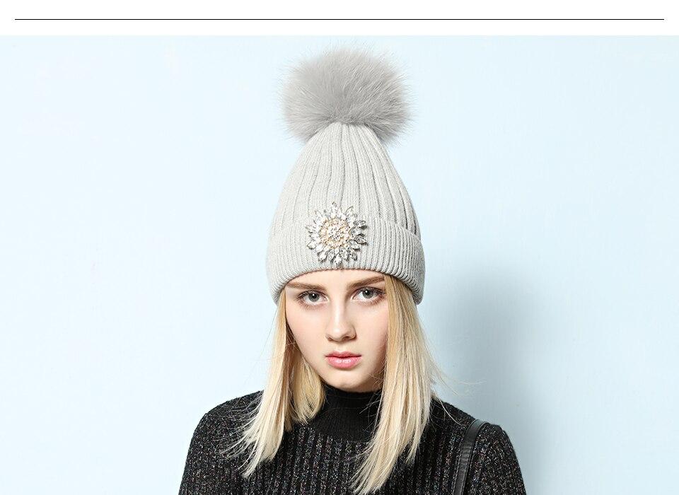Ralferty Women's Real Fox Pompom Hat Knitted Rabbit Skullies Winter Hats For Women Big Flower Crystal Beanies Black Cap bonnet 5