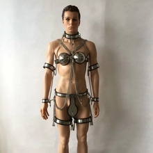Buy stainless steel male chastity belt +collar+bra+handcuff/arm ring+thigh ring+ legcuffs Chain 7pcs/set sex bondage bdsm toys