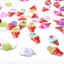 50PCs Wooden Buttons 2-Hole Scrapbooking Ice Cream Buttons For Craft Randomly Mixed XP0014