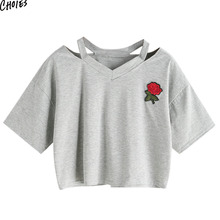 Gray Ripped V Neck Embroidery Floral Women Crop Cotton T-shirt Summer Short Sleeve Hollow Out Casual High Street Tee Top(China)