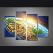 Canvas Painting Picture Wall Art Home Decoration Surface Of The Earth For Living Room Modern Printing Type 4 Panel Frame PENGDA(China)