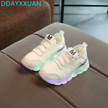 Kids LED Sneakers 2017 New Toddler Spring Breathable Children Sneaker Colorful Boys girls Sports Shoes with light EU 21~37
