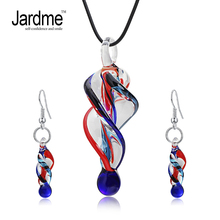 Jardme Jewelry Sets Screw-Type Murano Inspiration Mix Twisted Lampwork Glass Necklace and Earrings Jewelry Sets For Women(China)