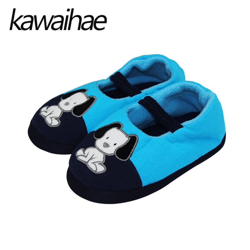 Kids Slippers Children Home Slippers Girls Warm Winter Shoes For Boys Indoor House Bedroom Baby Soft Flats 2016 Cute Animal Dog(China (Mainland))