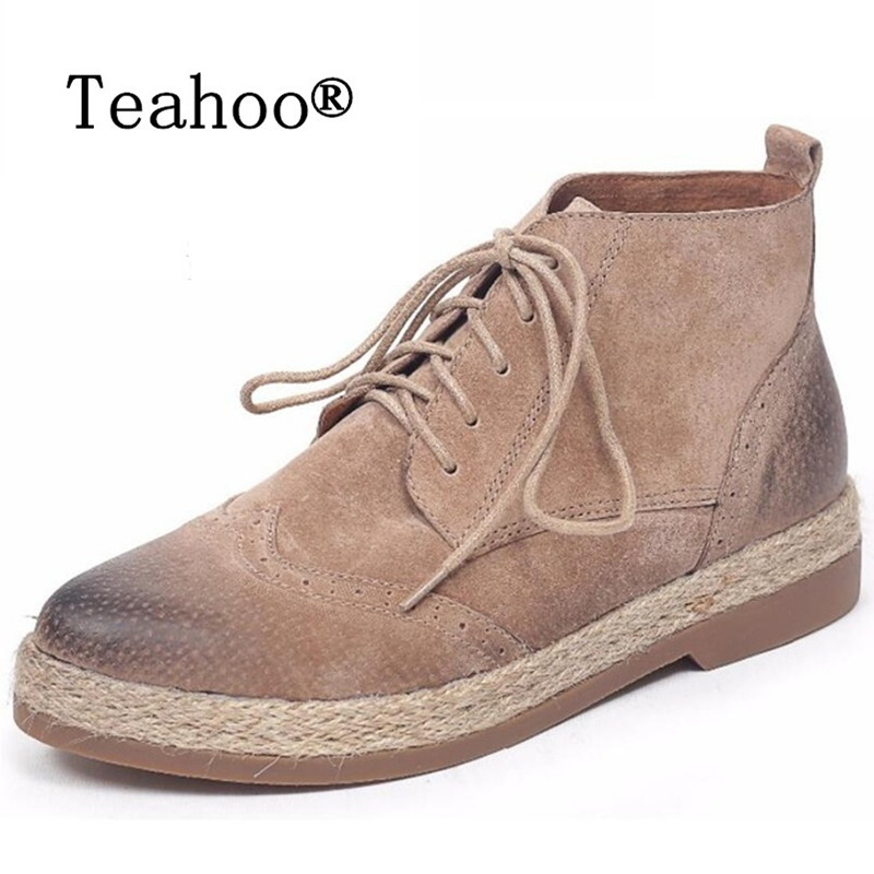 Teahoo 2017 Autumn Genuine Leather Chelsea Boots Women Ankle Boots Flat with Round Toe Lace-Up Retro Oxford Boots Womens Shoes<br>