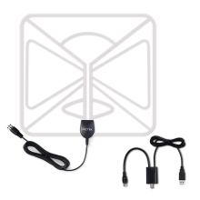Pictek 25dBi Amplified HDTV Antenna 50 Miles Range Ultra-thin Indoor Digital TV Antenna w/ Detachable Amplifier Signal Booster