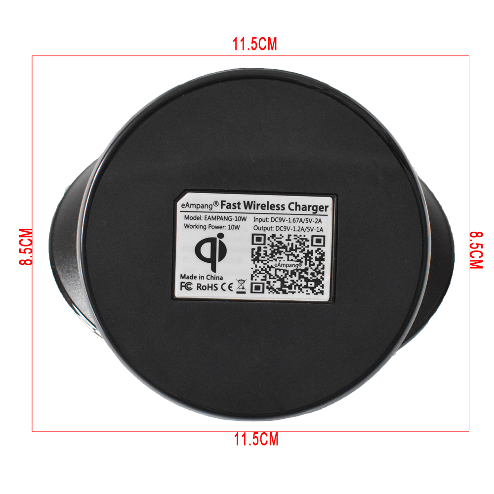 Original eAmpang 10W Qi Fast Wireless Charger for Samsung Galaxy S7 edge S8 S9 Plus Note 9 8 5 Apple iPhone X XS Max XR 8 Plus 10