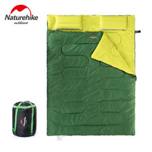 Upgrade pattern!NH Double sleeping couple spring and summer warm winter indoor outdoor camping adult sleeping bag with pillow