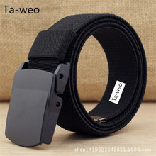 Casual High Elastic Belt, Plastic Automatic Buckle Belt, Men's Canvas Belts High Quality, Belt Length 100 110 120 135 160 CM