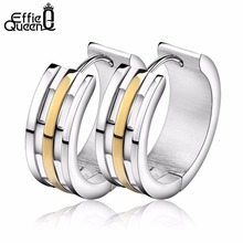 Effie Queen Women Fashion Hoop Earrings 316L Stainless Steel Gold -Color Line Decorated Unique Style Earrings IE32(China)