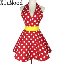 XiuMood New Sexy Retro Polka Dot Bib 100% Cotton kitchen Cooking Aprons For Woman Waitress Gift Free Shipping(China)