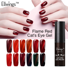 Ellwings 1pcs 2017 Newest Fire Red Cat Eye Nail Gel Polish Soak Off Uv Gel Varnish 3D Shining Colors Magnet DIY Gel lacquer(China)