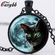 Blue Moon Black Cat Glass Necklace for women Silver Chain Summer Style Neck lace Green Cat Eye Glass Pendants Jewelry Bijouterie(China)