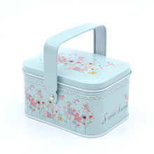 6Pcs Vintage Elegance Sweet Korean Floral Pastoral Iron Storage Tank Box with Handle Sealed Cans Candy Coffee Tea Tin Container