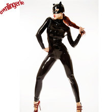 Buy Zentai/Catsuit Costumes Type Costumes Product Type sexy tight leather catsuit,faux latex wetlook overalls cat mask