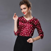 Pure Mulberry SILK blouse Women 3/4 sleeve work solid PRINT Blusas femininas Office lady spandex Plus size 2015 NEW FAll shirt