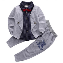 Pudcoco Baby Boy Clothes Spring Fall Children Clothing Long Sleeve Button Top Shirt Jogger Pants Gray