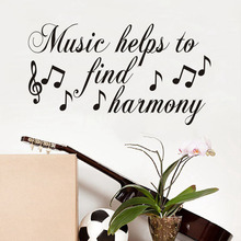 Music Helps To Find Harmony Wall Stickers For Kids Room Musical Notes Children Wall Decal Nursery Bedroom Decor Poster Mural(China)