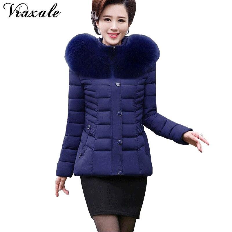 Vraxale 2017 Winter New Slim Cotton-padded Jacket Female Winter Fashion Thick Jacket Female Clothing Plus Size 4XLÎäåæäà è àêñåññóàðû<br><br>