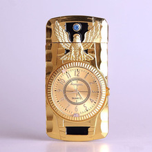 Butane Jet Lighter Clock Torch Lighter Men Gold Watch Quartz Compact Jet Butane Cigarette Cigar Straight Fire Lighter NO GAS
