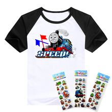 T-shirt the Thomas train and his lovely friends pattern boys clothing Short Sleeve cotton Thomas boys clothes children t shirts