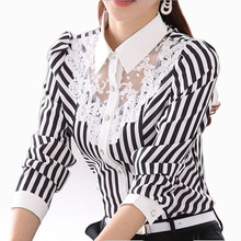 2017 Long Sleeve Lace Tops Striped Blouse Women Spring Autumn Turn-Down Collar OL Blouses Official Female shirt Formal Blouse