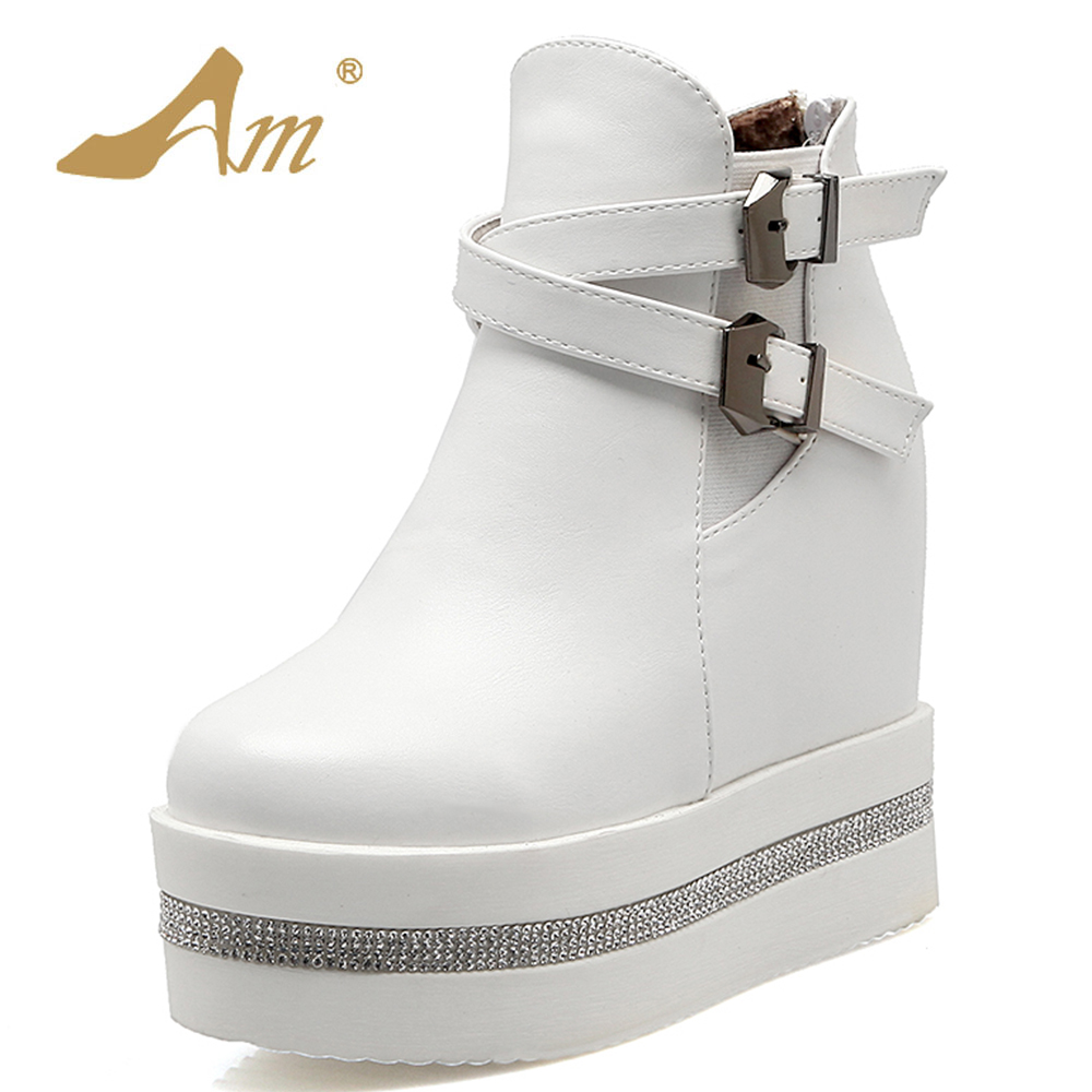 AME High Heeled Ankle Boots for Women Fashion Woman Solid Snow Boots Shoes with Inner Increasing Height<br>