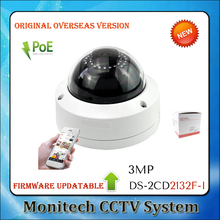 DS-2CD2132F-I HIK Updatable firmware 3MP Fixed Dome Network Wired POE IP Camera IR Full HD 1080P Outdoor IP66 CCTV Home security(China)
